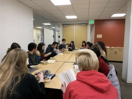 Students around a table