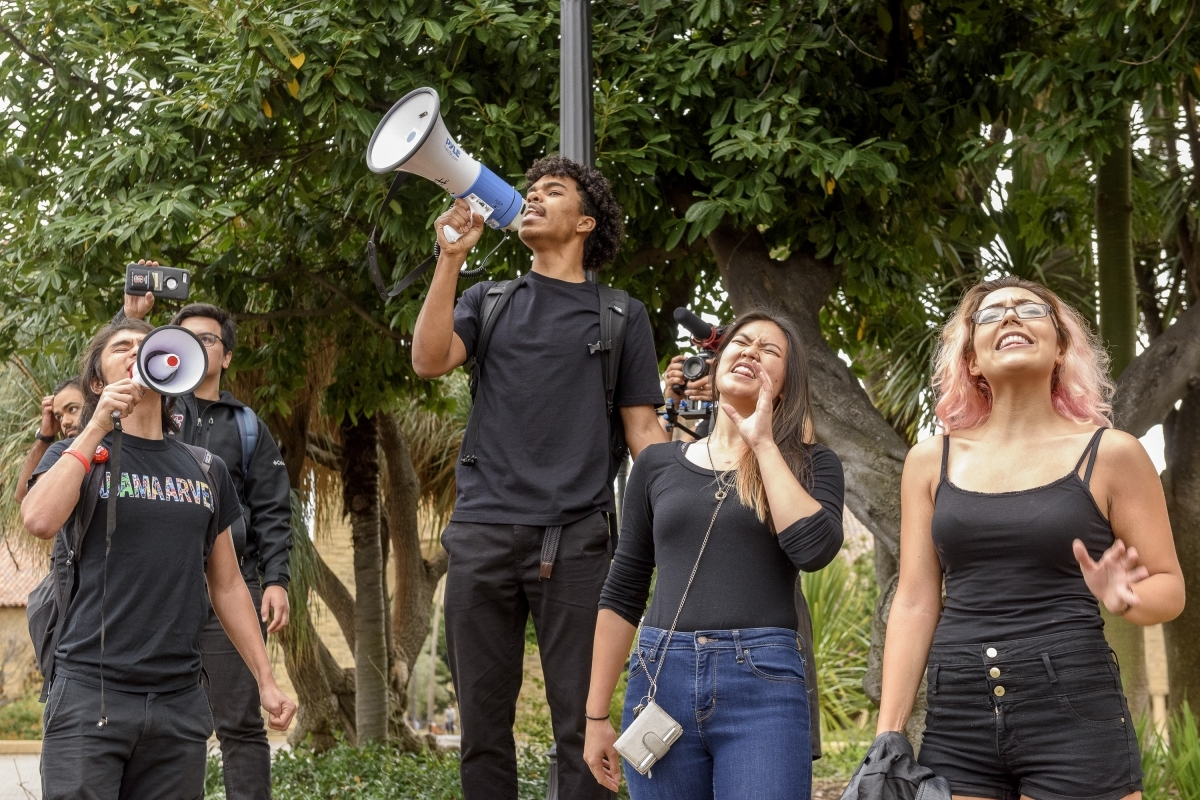 Stanford students with bullhorn