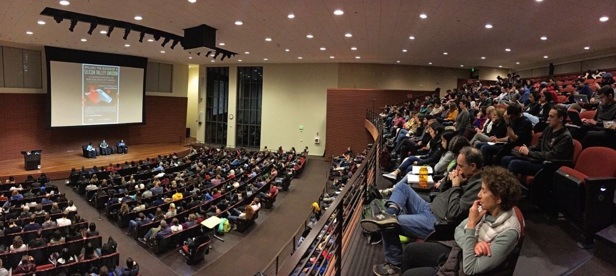 Panoramic of filled auditorium